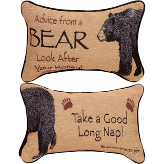 Manual Woodworkers ADVICE FROM A BEAR MULTI COLOR WORD Throw Pillow