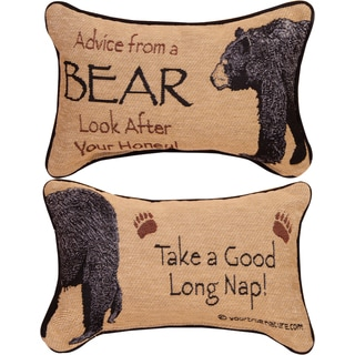 Manual ADVICE FROM A BEAR MULTI COLOR WORD Throw Pillow