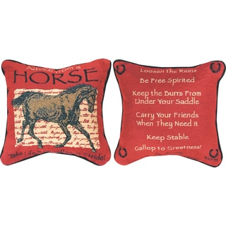 Manual Woodworkers ADVICE FROM A HORSE MULTI COLOR Throw Pillow