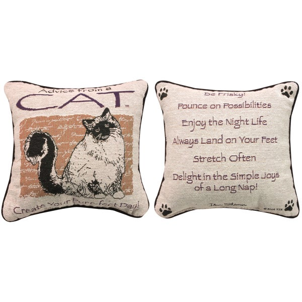 Manual Woodworkers ADVICE FROM A CAT MULTI COLOR Throw Pillow