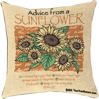 Manual Woodworkers ADVICE FROM A SUNFLOWER MULTI COLOR Throw Pillow