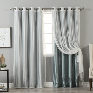 Aurora Home MIX & MATCH CURTAINS Faux Silk Blackout Tulle Lace Sheer Bronze Grommet 4-piece Curtain Panel Pair