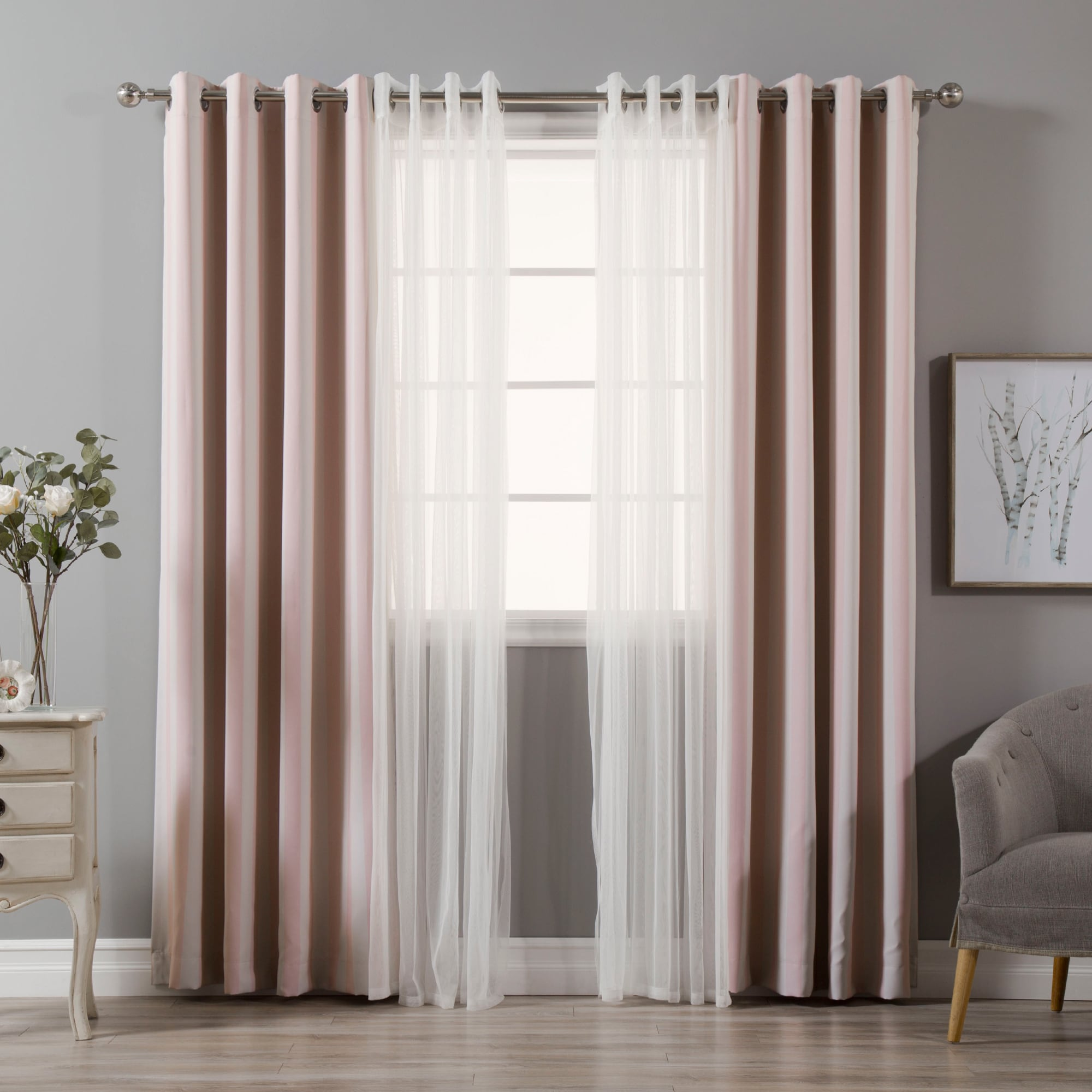 Aurora Home MIX & Match Curtains Stripe Print and Tulle L...
