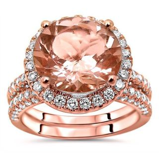 Noori 14k Rose Gold 4ct TGW Round-cut Morganite and Diamond Engagement Ring Set (G-H, SI1-SI2)
