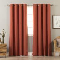 Aurora Home Mix & Match Linen Blend and White Blackout 4 Piece Curtain Panel Set - 52 x 84