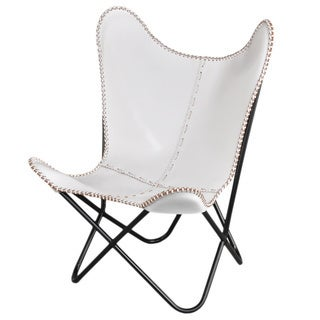 Alliyah Handmade Leather Butterfly Antique White Chair