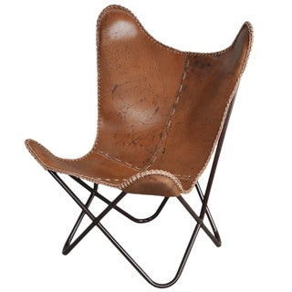 Alliyah Handmade Leather Butterfly Antique Brown Chair
