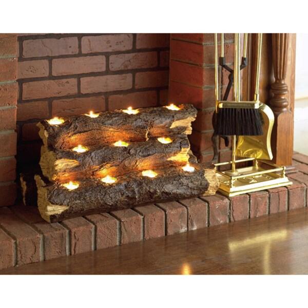 Copper Grove Julius Tealight Fireplace Log. Opens flyout.