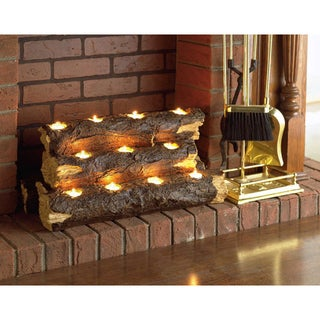 Copper Grove Julius Tealight Fireplace Log - N/A