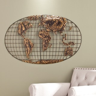 Harper Blvd Iron World Map Wall Sculpture