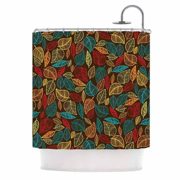 KESS InHouse KESS Original Leaves All Around Multicolor Brown Shower Curtain (69x70)