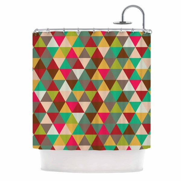 KESS InHouse KESS Original Autumn Triangle Spectrum Multicolor Geometric Shower Curtain (69x70)