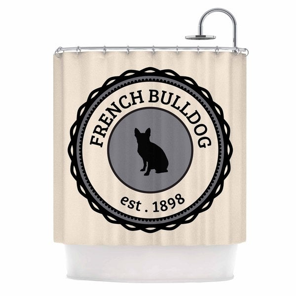 KESS InHouse Original French Bulldog Beige Dog Shower Curtain 69x70