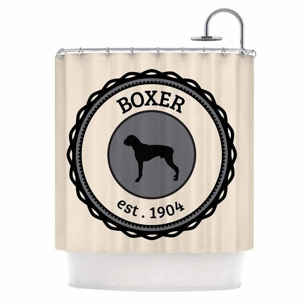 KESS InHouse KESS Original Boxer Dogs Beige Shower Curtain (69x70)
