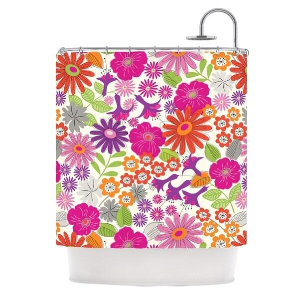KESS InHouse Jacqueline Milton Lula - Tropical Pink White Shower Curtain (69x70)