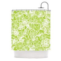 "KESS InHouse Jacqueline Milton ""Vine Shadow - Lime"" Green Floral Shower Curtain (69x70) - 69 x 70"