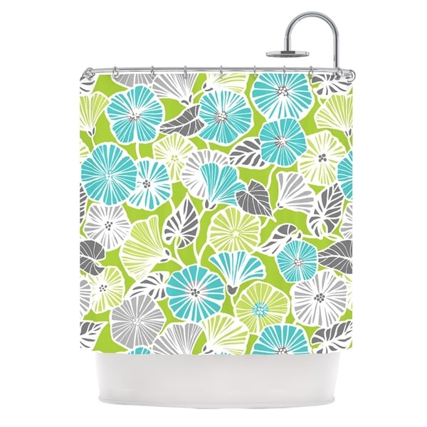 KESS InHouse Jacqueline Milton Trumpet Vine Aqua Green Shower Curtain (69x70)