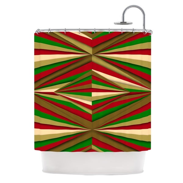 KESS InHouse Danny Ivan Christmas Pattern Red Green Shower Curtain 69x70