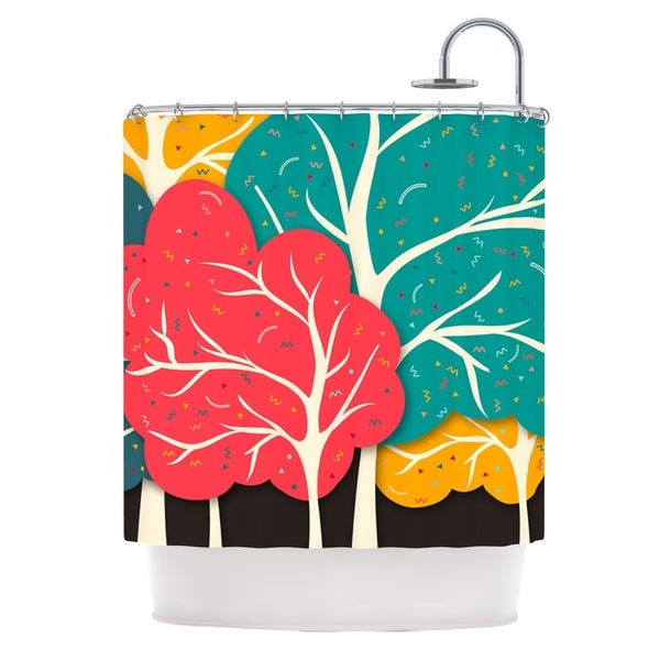 KESS InHouse Danny Ivan Happy Forest Trees Shower Curtain (69x70)