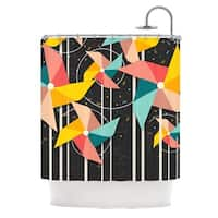KESS InHouse Danny Ivan Colorful Pinwheels Black Abstract Shower Curtain (69x70)