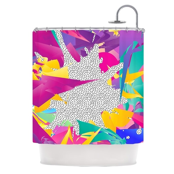 KESS InHouse Danny Ivan 80's Abstract Pink Teal Shower Curtain (69x70)