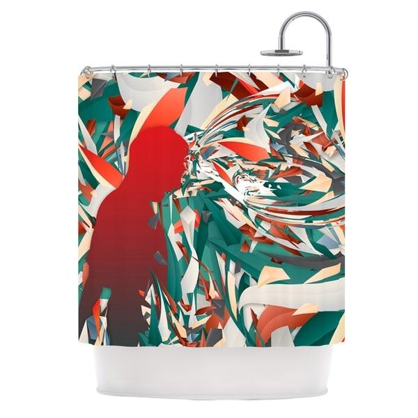 KESS InHouse Danny Ivan Soccer Headshot Teal Red Shower Curtain (69x70)