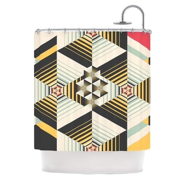KESS InHouse Danny Ivan La Plus Black Yellow Shower Curtain (69x70)