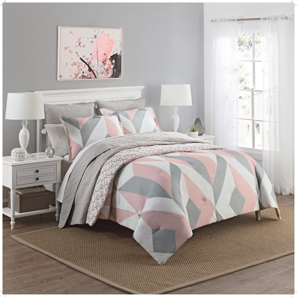 marble hill lena reversible 100 cotton 3 piece comforter set free shipping today overstock. Black Bedroom Furniture Sets. Home Design Ideas