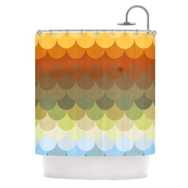 KESS InHouse Danny Ivan Half Circle Waves Color Shower Curtain (69x70)