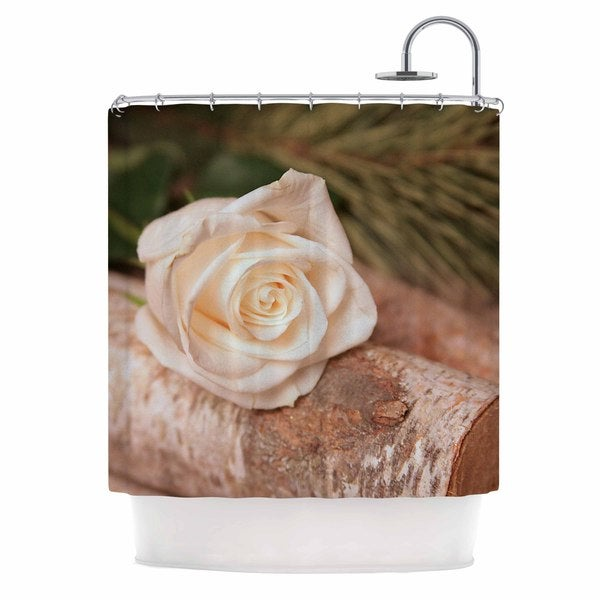 KESS InHouse Angie Turner Rustic Romance White Green Shower Curtain (69x70)