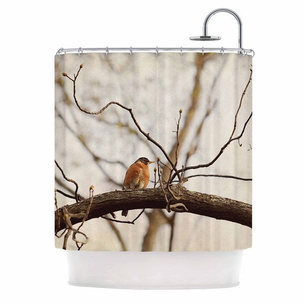 KESS InHouse Angie Turner Spring Robin Red Brown Shower Curtain (69x70)