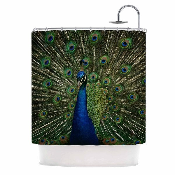 KESS InHouse Angie Turner Proud Peacock Blue Animals Shower Curtain (69x70)
