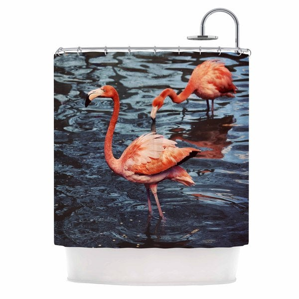 KESS InHouse Angie Turner Pink Flamingo Animals Blue Shower Curtain (69x70)