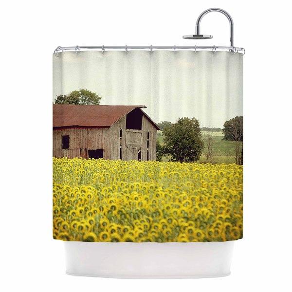 """KESS InHouse Angie Turner """"Field Of Sunflowers"""" Yellow Nature Shower Curtain (69x70) - 69 x 70"""