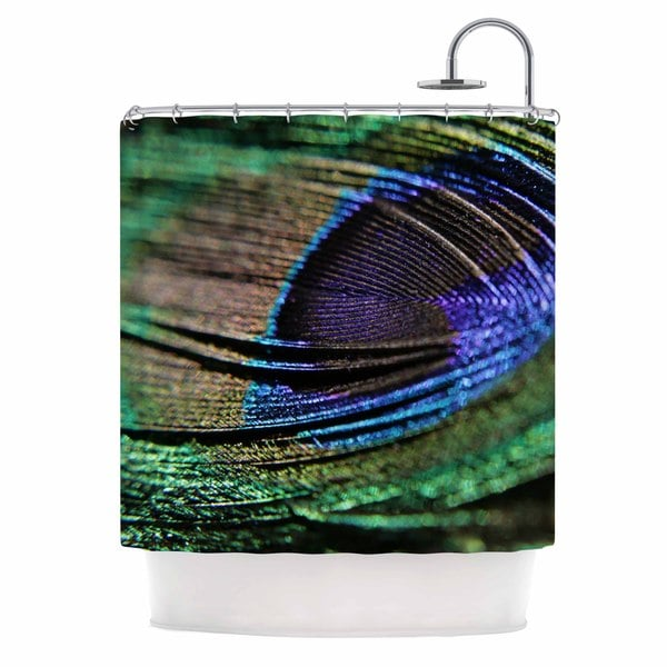 KESS InHouse Angie Turner Peacock Feather Green Blue Shower Curtain (69x70)
