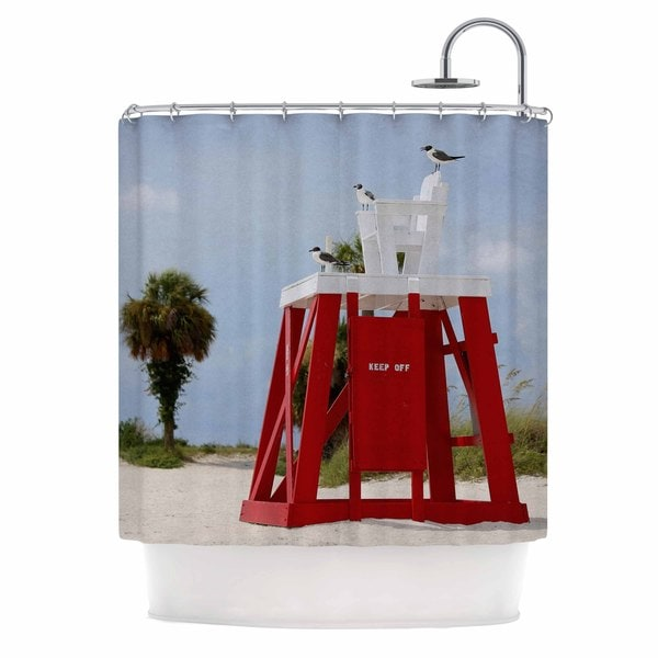 KESS InHouse Angie Turner Keep Off Red Blue Shower Curtain (69x70)