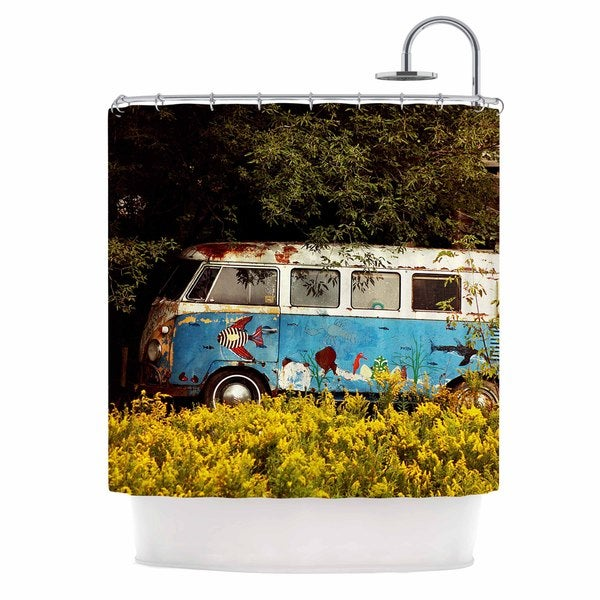 KESS InHouse Angie Turner Hippie Bus Blue Yellow Shower Curtain 69x70