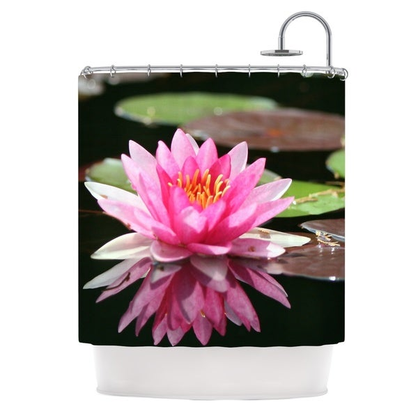KESS InHouse Angie Turner Water Lily Green Pink Shower Curtain (69x70)