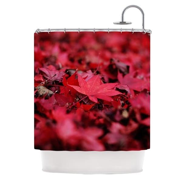 KESS InHouse Angie Turner Red Leaves Maroon Leaf Shower Curtain (69x70)
