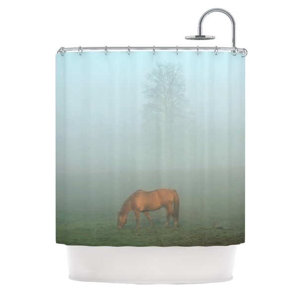 KESS InHouse Angie Turner Horse in Fog Blue Mist Shower Curtain (69x70)