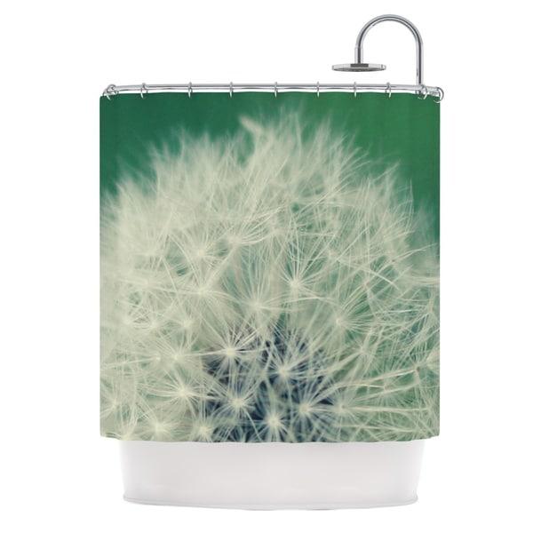 KESS InHouse Angie Turner Fuzzy Wishes Green White Shower Curtain (69x70)