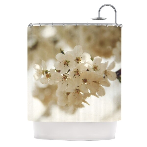 KESS InHouse Angie Turner Flowering Pear White Petals Shower Curtain (69x70)