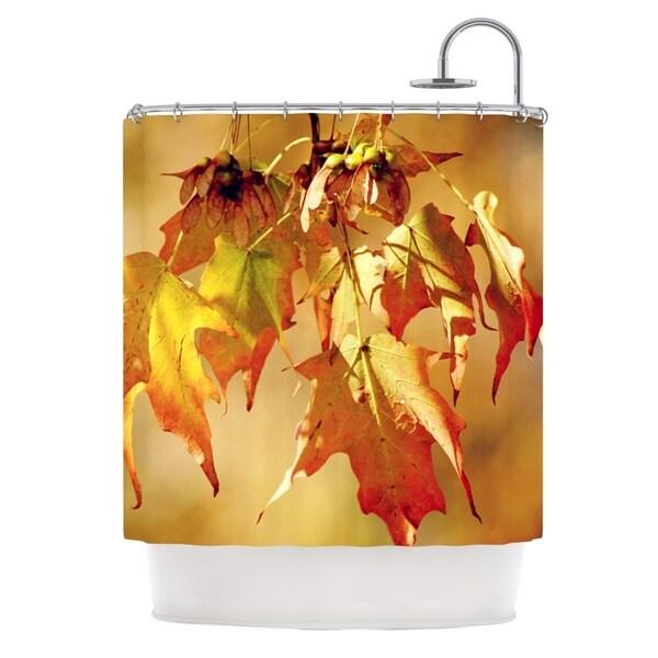 KESS InHouse Angie Turner Autumn Leaves Vibrant Orange Shower Curtain (69x70)