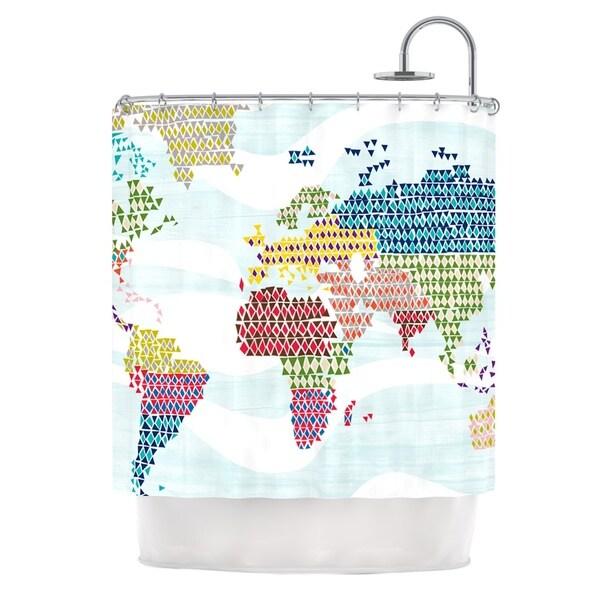 KESS InHouse Agnes Schugardt Geo Map Abstract Shower Curtain (69x70)