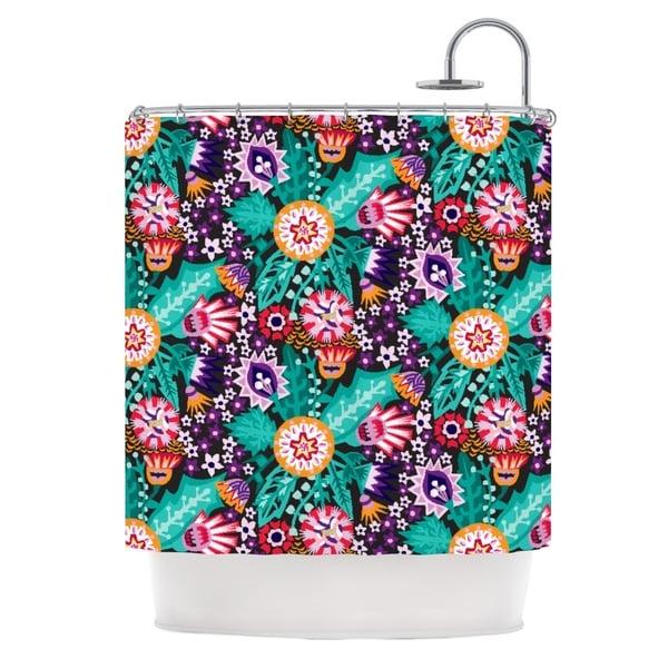 KESS InHouse Agnes Schugardt Folk Meadow Purple Teal Shower Curtain (69x70)