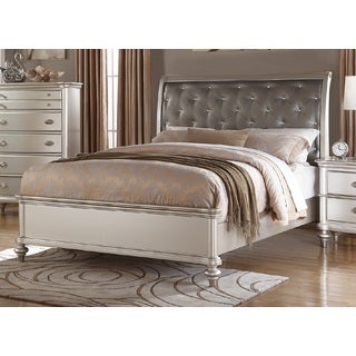 Hawsa Silver-finish Faux Leather Upholstered Wood Platform Bed