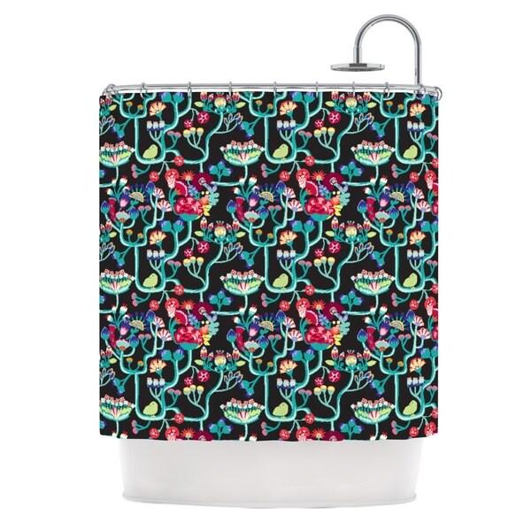 KESS InHouse Agnes Schugardt Antique Folk Rainbow Black Shower Curtain (69x70)