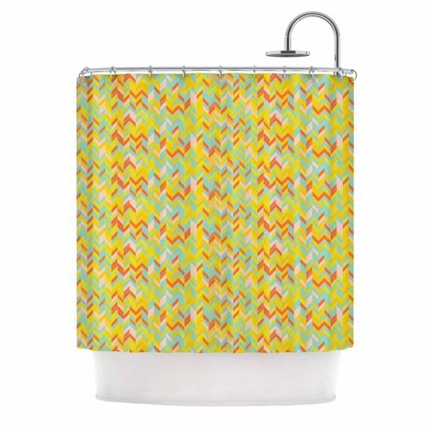 KESS InHouse Allison Soupcoff Chevron Pop  Yellow Pattern Shower Curtain (69x70)