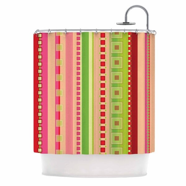 KESS InHouse Allison Soupcoff Tart Red Teal Shower Curtain (69x70)