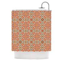 KESS InHouse Allison Soupcoff Henson Orange Green Shower Curtain (69x70)